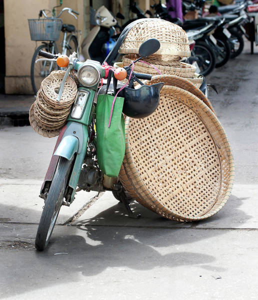 Wall Art - Photograph - Motor Cycle And Baskets In The Street by Cormac Mccreesh