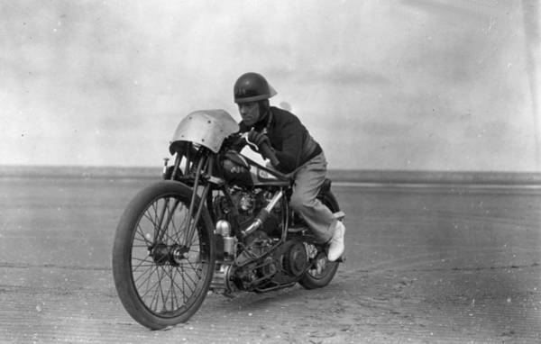 Motorcycle Racing Photograph - Motor-cycle On Beach by Douglas Miller