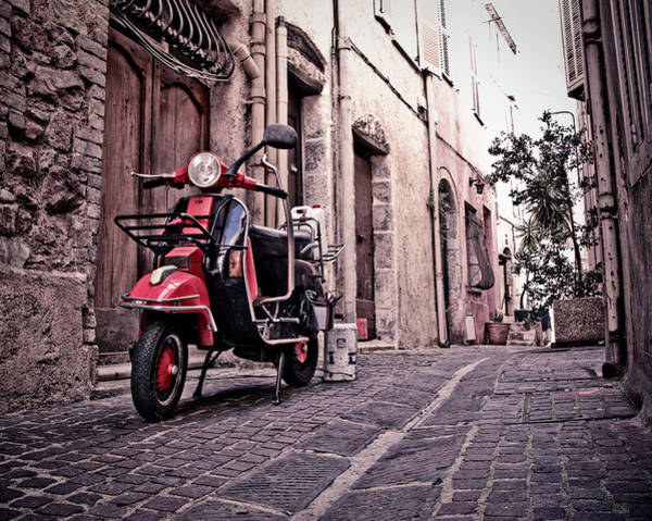 French Riviera Photograph - Motor Scooter Parked In Alley Cannes by Pidjoe