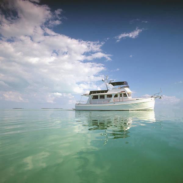 Yacht Photograph - Motor Yacht In Calm Sea by Gary John Norman