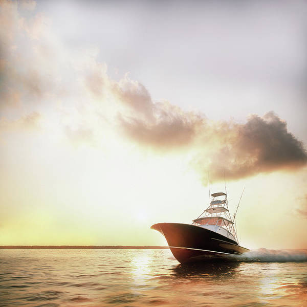 Luxury Yacht Photograph - Motor Yacht Powering Through Calm Water by Gary John Norman