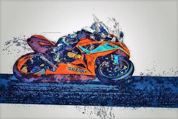 Wall Art - Painting - Motorbike Racing by ArtMarketJapan