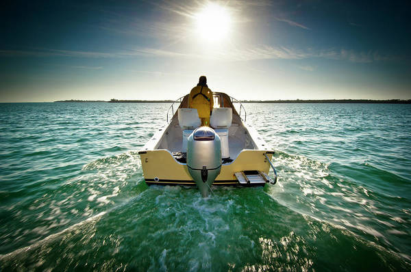 Motorboat Photograph - Motorboat On Sea At Sunset by Win-initiative