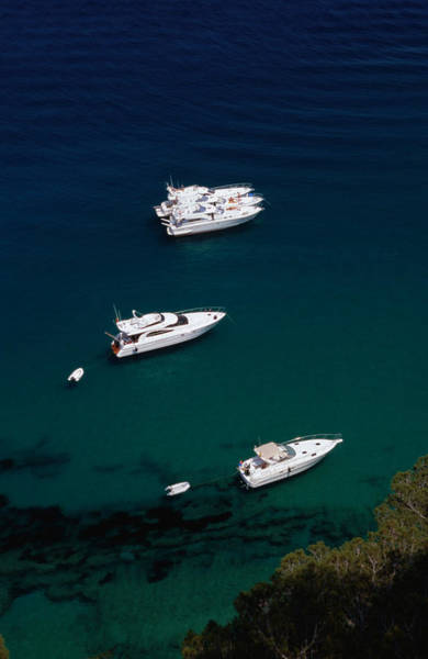 Motorboat Photograph - Motorboats Anchored Off The Coast Of by Stephen Saks