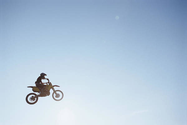 Motocross Photograph - Motorcross Cyclist Performing Jump In by Peter Lilja
