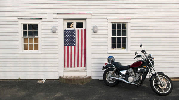 Crash Helmet Photograph - Motorcycle And American Flag by Constantin Falk