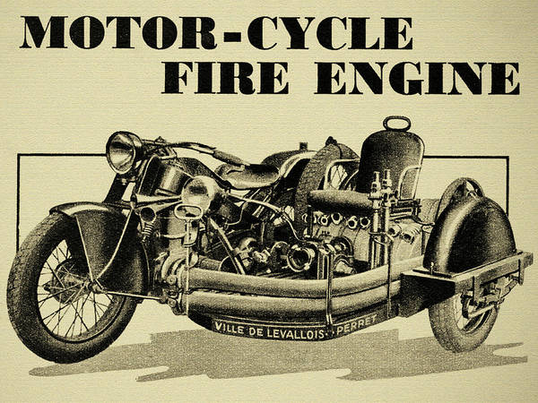 Photograph - Motorcycle Fire Engine - Ville De Levallois Perret by Sigital Reproductions