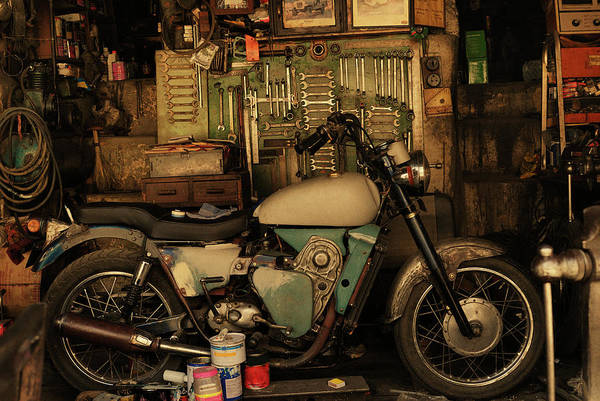 Damaged Photograph - Motorcycle In An Auto Repair Shop by Win-initiative/neleman