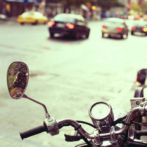 Wall Art - Photograph - Motorcycle In  Rain by Copyright Anna Nemoy(xaomena)