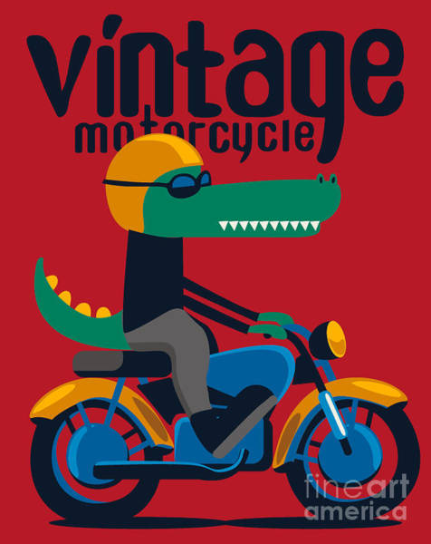 Wall Art - Digital Art - Motorcycle, Rider, Crocodile Vector by Braingraph