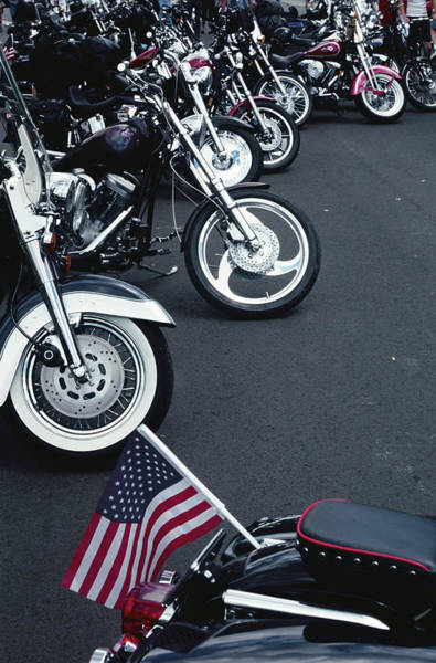 Aspen Photograph - Motorcycles Lined Up In The 4th July by Mark D Callanan