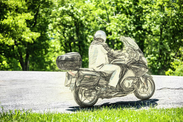Wall Art - Digital Art - Motorcyclist On Shenandoah Mountain 3304tti by Doug Berry
