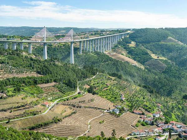 Douro Wall Art - Photograph - Motorway Bridge Crossing Rio Corgo by Martin Zwick