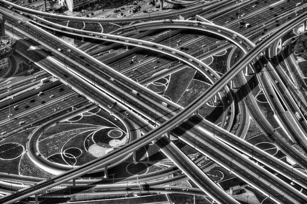 Wall Art - Photograph - Motorways From The Air Dubai by David Pyatt