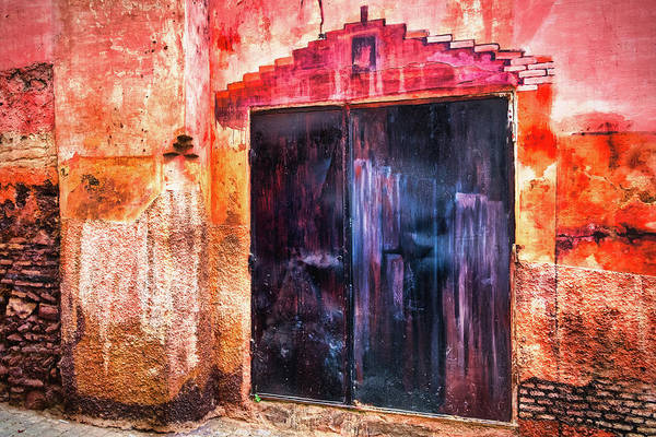 Photograph - Moulay Idriss Door And Painted Wall #2 - Morocco by Stuart Litoff