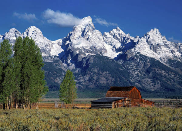 Altitude Photograph - Moulton Barn Tetons by Leland D Howard
