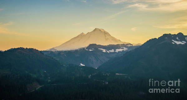 Wall Art - Photograph - Mount Baker Photography Aerial Sunset by Mike Reid