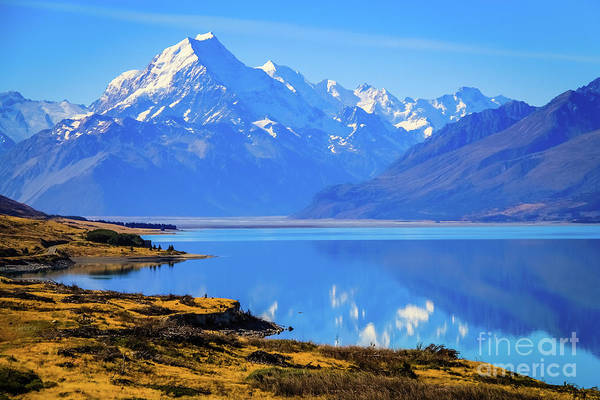 Photograph - Mount Cook Overlooking Lake Pukaki,  New Zealand by Lyl Dil Creations
