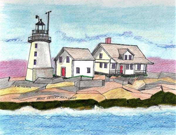 Wall Art - Drawing - Mount Desert Rock Light by Paul Meinerth