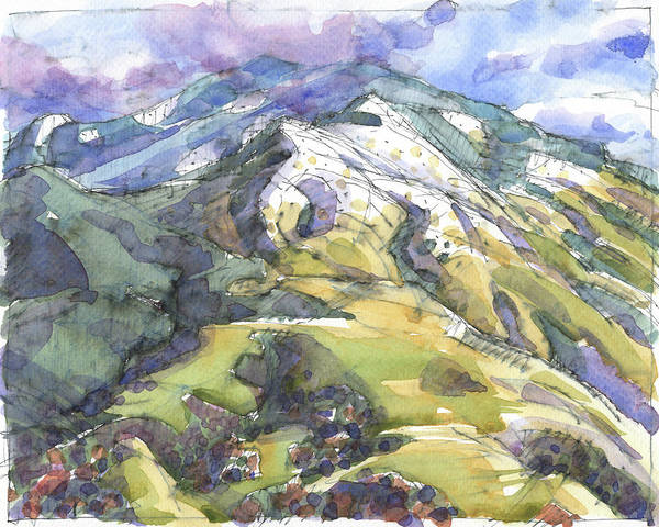 Painting - Mount Diablo With Snow by Judith Kunzle