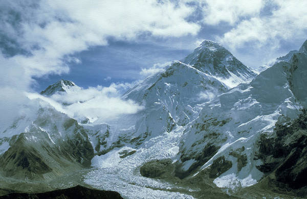 Khumbu Wall Art - Photograph - Mount Everest And Khumbu Icefall And by Paul Franklin