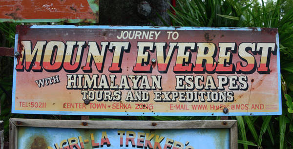 Wall Art - Photograph - Mount Everest Expeditions Sign by David Lee Thompson