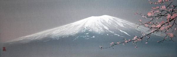 Painting - Mount Fuji And Blooming Sakura Branch by Alina Oseeva