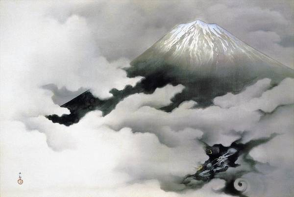 Felicitous Wall Art - Painting - Mount Fuji And Dragon - Ryuodoru -top Quality Image Edition by Yokoyama Taikan