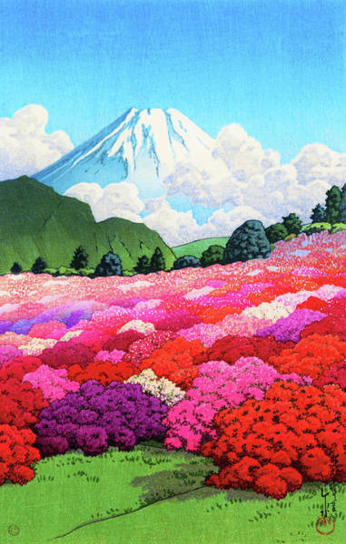 Wall Art - Painting - Mount Fuji From Aazalea Garden, Summer - Digital Remastered Edition by Kawase Hasui