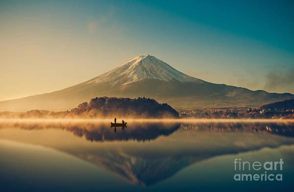 Wall Art - Photograph - Mount Fuji San At Lake Kawaguchiko In by Focusstocker