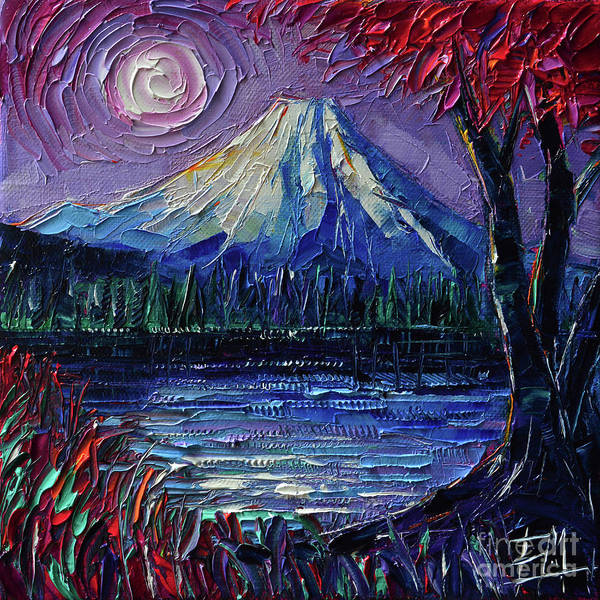 Wall Art - Painting - Mount Fuji - Textural Impressionist Palette Knife Impasto Oil Painting Mona Edulesco by Mona Edulesco
