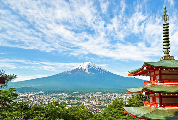 Japanese Culture Photograph - Mount Fuji With A Pagoda In The by Tom Bonaventure