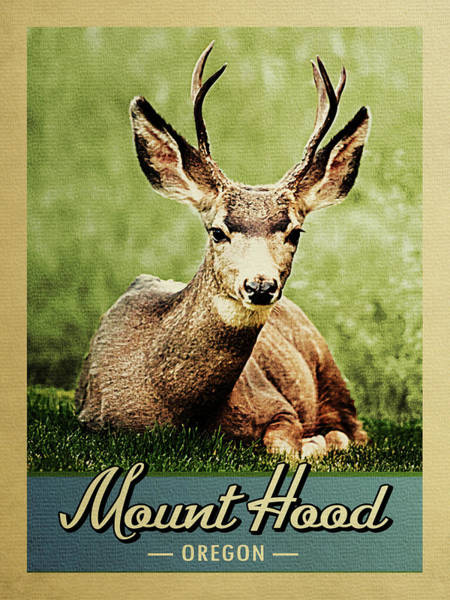 Oregon Wildlife Wall Art - Digital Art - Mount Hood Oregon Vintage Deer by Flo Karp