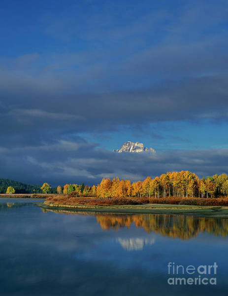 Photograph - Mount Moran In Clouds Oxbow Bend Grand Tetons Np Wyoming by Dave Welling
