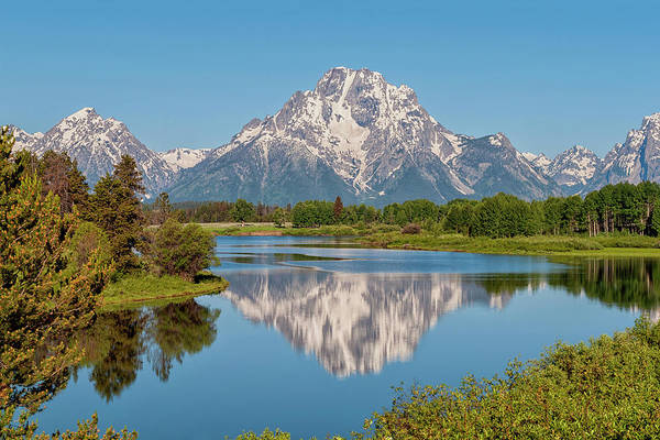 Teton Photograph - Mount Moran On Snake River Landscape by Brian Harig