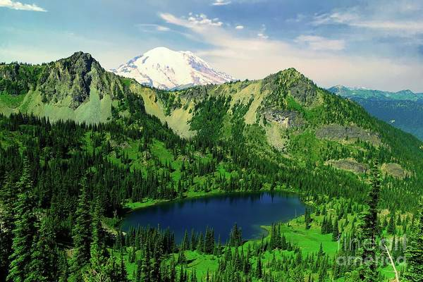 Wall Art - Photograph - Mount Rainer And Crystal Lake  by Jeff Swan