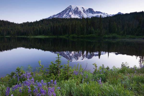 Mount Rainier, A Snow-capped Peak In Art Print