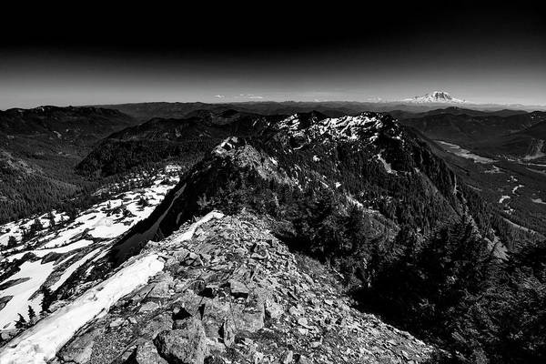 Wall Art - Photograph - Mount Rainier From Alta Mountain Black And White 2 by Pelo Blanco Photo
