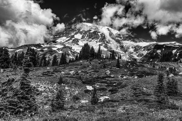 Photograph - Mount Rainier Panorama Point Black And White  by Mark Kiver