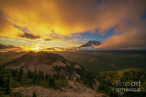 Wall Art - Photograph - Mount Rainier Photography Pinnacle Saddle Sunset by Mike Reid