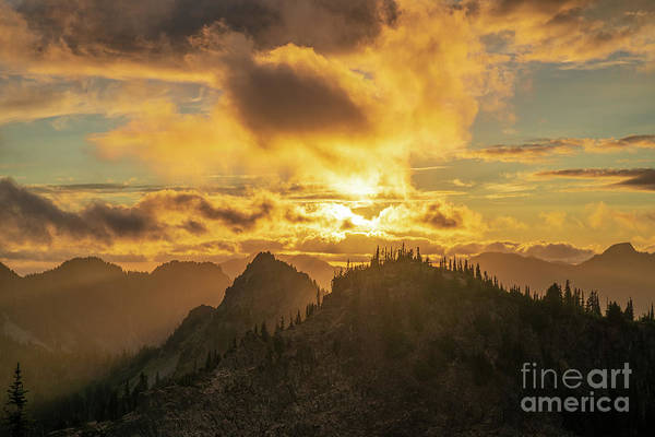 Wall Art - Photograph - Mount Rainier Photography Tatoosh Range Sunset Light Layers by Mike Reid