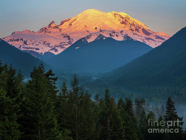 Wall Art - Photograph - Mount Rainier Sunrise Alpenglow by Mike Reid