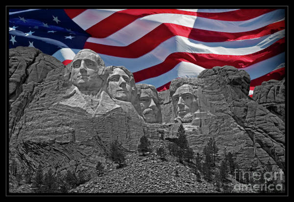 Wall Art - Photograph - Iconic American Treasure Mount Rushmore Black Hills South Dakota American Flag  by John Stephens