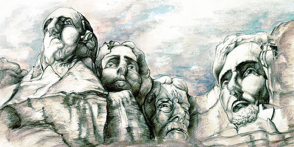 Drawing - Mount Rushmore Monument - Fine Art Drawing by Peter Potter