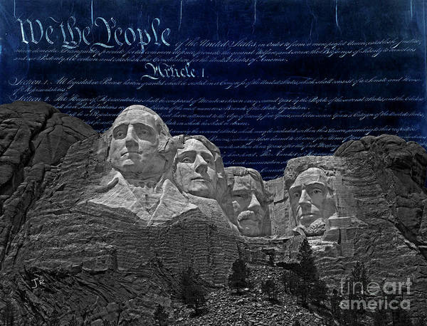 Wall Art - Photograph - Mount Rushmore On Blue United States Constitution by John Stephens