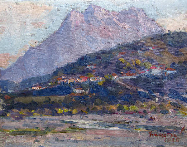 Wall Art - Painting - Mount Tomorr View From Gramsh Albania by Ylli Haruni