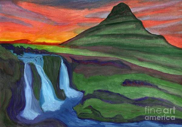 Painting - Mountain And Waterfall In The Rays Of The Setting Sun by Irina Dobrotsvet
