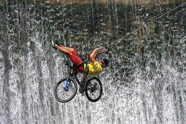 Bicycle Photograph - Mountain Biker On A Rope In Front Of by Leo Himsl / Look-foto