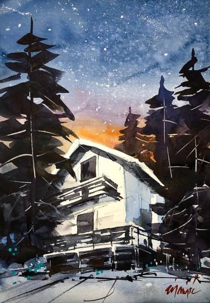 Wall Art - Painting - Mountain Chalet At Night by Ugljesa Janjic