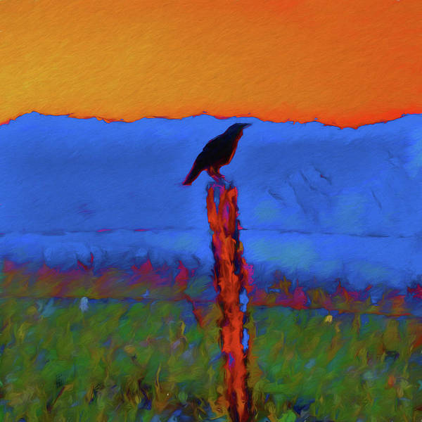 Painting - Mountain Crow At Sunset by Dan Sproul